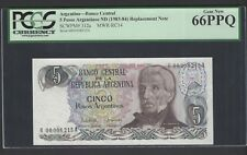Argentina 5 Pesos Argentinos ND(1983-84) P312a Series R Uncirculated Graded 66
