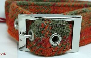 Orange/red and green check Harris Tweed dog collar & lead set various sizes