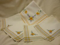Vintage Cloth Tablecloth and Napkins Flower Embroidery Yellow Edge Line Design