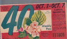 Trolly/Bus pass capital Transit Wash. DC--1950 Hawthorn-----46