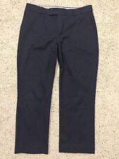 BANANA REPUBLIC size 10 NAVY BLUE JACQUARD Crop PANTS Ins 26.5 HARDLY WORN  F7