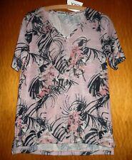 T-Shirt v.Gina Laura,Gr.40/42,M,Kurzarm,altrosa,schwarz,creme,V-Ausschnitt,Neu