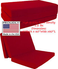 "Queen Size Red Trifold Floor Foam Beds 4""x60""x80"" Foldable foam Ottoman Bed"