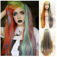 Rainbow Colorful Wig Lace Front Synthetic Ombre Natural Straight Long Hair Wig