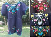 Peregrina Mexican Blouse Top Shirt Black Embroidered Flowers Floral Cotton Poly
