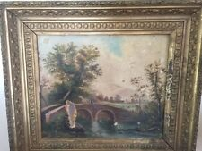 Antique Ornate Oil Painting Bridge Farm River Mountain Gold Gesso frame summer