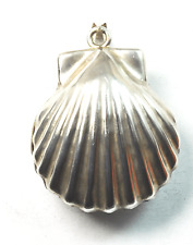 """Sterling Silver Mexico Silver Shell Bell Pendant  2-1/4"""" Large Bale Taxco TV-59"""
