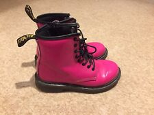 Girls Hot Pink Patent Dr Doc Martens Boot Size UK 13