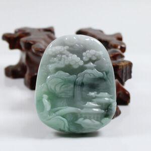 "Certified Grade ""A"" Natural Green Jadeite Jade Gems Pendant Landscape 山水 j3664"