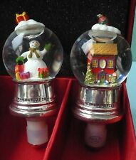 NEIMAN MARCUS 2 CHRISTMAS SNOW GLOBE BOTTLE STOPPERS SNOWMAN,XMAS HOUSE