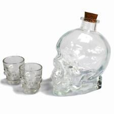 BOTTIGLIA di vetro personalizzati Shot Teschio Testa Chiaro Decanter Set DEMONE Drink Set