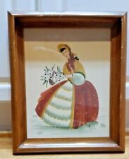 M. Wall colonial figures vintage mid century watercolor painting RARE!