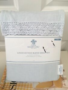 Rachel Ashwell Shabby Chic Linen Cotton Blue Crochet Lace Sheet Set Twin Size