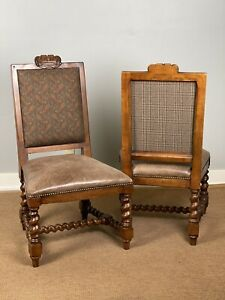 Pair Ralph Lauren Carved Leather Seat Accent Side Chairs Paisley Plaid Fabric