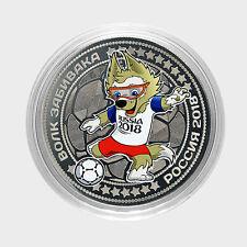 Russia, World Cup 2018, Mascot ZABIVAKA (wolf), 25 Rbl Rubels colored UNC