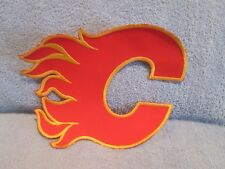 """Large CALGARY FLAMES 9"""" NHL iron-on hockey patch; Embroidered Jersey Crest. New"""