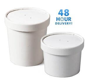 White Disposable Paper Ice Cream Soup Containers Heavy Duty / Lids 8oz 16oz