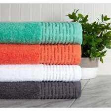 Bath Towel Set with Borders Hand Towels Face Cloths 6 pc Plush Towels 4 Colors