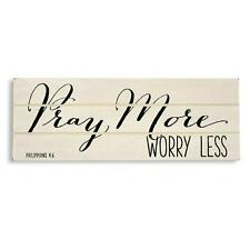 Distressed Wood PRAY MORE WORRY LESS Sign Table Shelf Home Decor