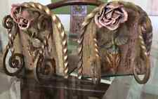 Gold Gilt Pink Rose Iron Shabby and Chic French Romantic Floral Flower Bookends