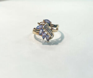 10k Yellow Gold Amethyst and Diamond Ring Missing Stone, Size 6.5, 2.5g