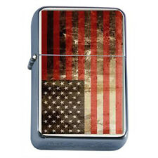 Windproof Refillable Oil Lighter Vintage American Flag D5 Patriotic Stars Honor