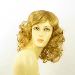 mid length wig for women curly blond golden ref: FLO 24b  PERUK