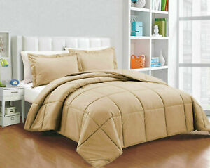300 GSM Down Alternative Comforter+Sheet Set Taupe Solid Cal King Size - FS