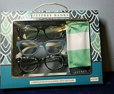 NEW Jeffery Banks set of  3 premium womens  reading glasses with soft case +2.00