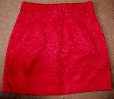 NEW Sz 12-14 H&M Red Satin & Lace Fixed Overskirt Mini Party Skirt Gold Zip Gift