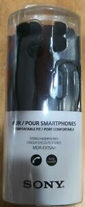 NEW! Sony Wired (no charging) Soft Earbud In Ear Headset & Mic. Black.