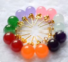 New Natural 10mm 7 Color 7 Pair Natural Jade 18K Gp Stud Earring