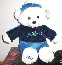 "2013 WalMART CHRISTMAS Snowflake TEDDY BEAR White a Boy 20"" Blue clothe NWT"