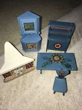 VINTAGE LUNBY DOLL HOUSE  BLUE WOOD CORNER CABINET WITH OTHER FURNITURE