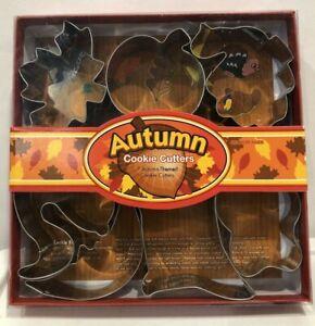 Fox Run Cookie Cutters Autumn Themed Pumpkin Leaves Squirrel Turkey  Aluminium