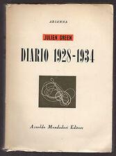 """J. Green: """"DIARIO 1928-1934"""" - Mondadori 1946 - Prima edizione"""