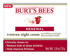 Burts Bees Renewal Firming Night Cream Hibiscus Apple Rejuvenating Complex 1.8oz