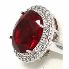 Sparkling Large Ruby Halo Ring Women Wedding Anniversary Jewelry Size 5 6 7 8 9
