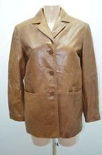 VESTE JACKET CUIR ZARA 38 40 M MARRON LEATHER