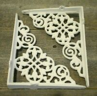 "2 Cast Iron Shelf Brackets New Antique Style White 7.5"" x 6"" Corbels Book Wall"