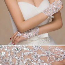 Women White Sheer Floral Rose Gloves Wrist Wedding Lady Costume Opera Party Prom