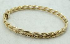 14K Yellow Gold Wheat Link Style Hinge Bangle Bracelet 7 Inch 9.2g D1363