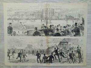 Antique 1880 'THE AUSTRALIAN CRICKETERS AT KENSINGTON OVAL' ENGRAVING PRINT