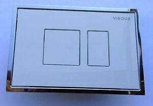 Vigour Betätigungsplatte AI weiß mit Chromrahmen Abdeckplatte Drückerplatte