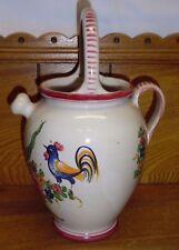 "Italian Art Pottery Watering Can / Pitcher - 10 3/8"" - Italy Vanro 8220"