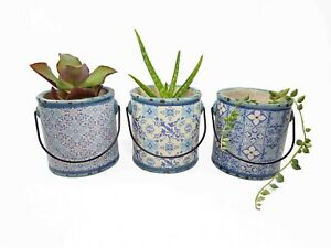 Blue Ceramic Mini Plant Pot Planter with Handle Patterned Round Indoor
