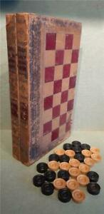 Antique Victorian Folding Book Form Chess/Backgammon Board with Wooden Pieces