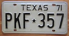 Texas 1971 License Plate NICE QUALITY # PKF-357