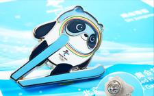 Beijing Winter Olympic Game Mascot Ice Panda Ski Jumping Snow Sports Pin Badge