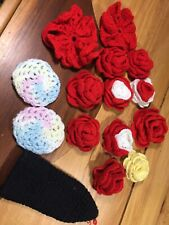 Hand Knit Crafts Flowers Roses Mix Lot Vintage Handmade